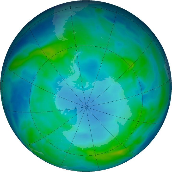 Antarctic ozone map for 06 May 2013